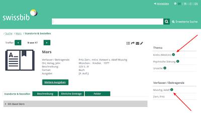 swissbib mit Personen- und Themeninformationen / Des informations sur les personnes et les sujets dans swissbib